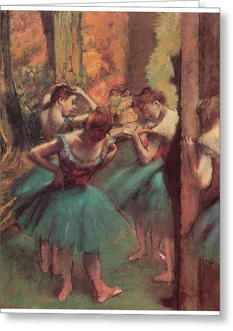 Ballet Dancers Pastels Greeting Cards - Dancers Pink and Green Greeting Card by Edgar Degas