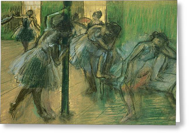 Ballet Dancers Greeting Cards - Dancers rehearsing Greeting Card by Edgar Degas