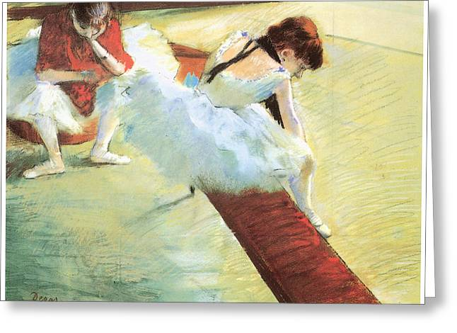 Ballet Dancers Pastels Greeting Cards - Dancers Resting Greeting Card by Edgar Degas