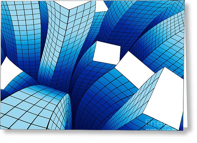 Earthquake Greeting Cards - Dancing Buildings Greeting Card by Atiketta Sangasaeng