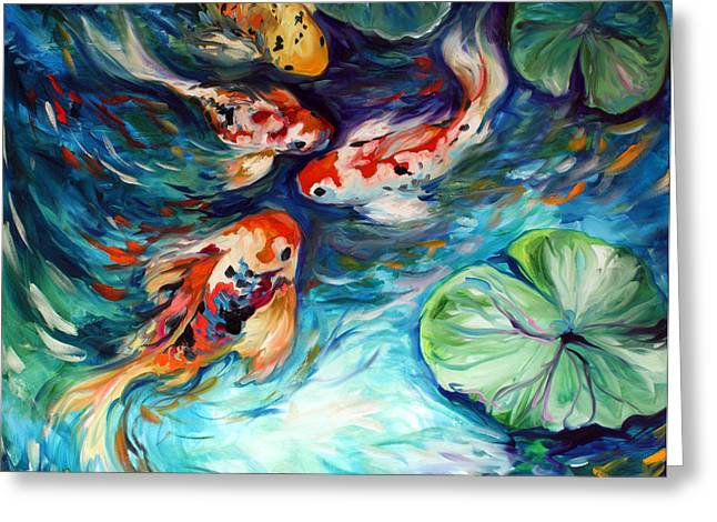 Marcia Greeting Cards - Dancing Colors Koi Greeting Card by Marcia Baldwin