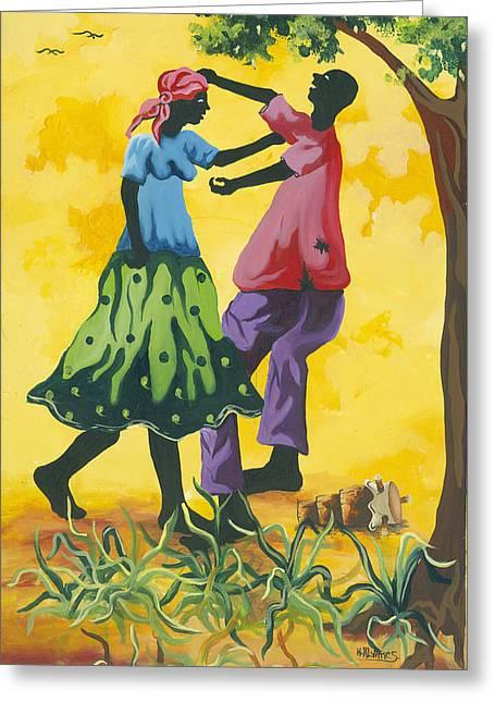 Haitian Paintings Greeting Cards - Dancing Couple Greeting Card by Herold Alvares