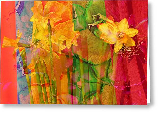 Photographs Photographs Greeting Cards - Dancing Daffodils Greeting Card by Jerry Cordeiro
