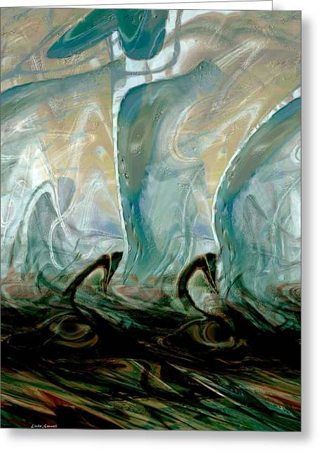 Abstract Expression Greeting Cards - Dancing Dolphins Greeting Card by Linda Sannuti