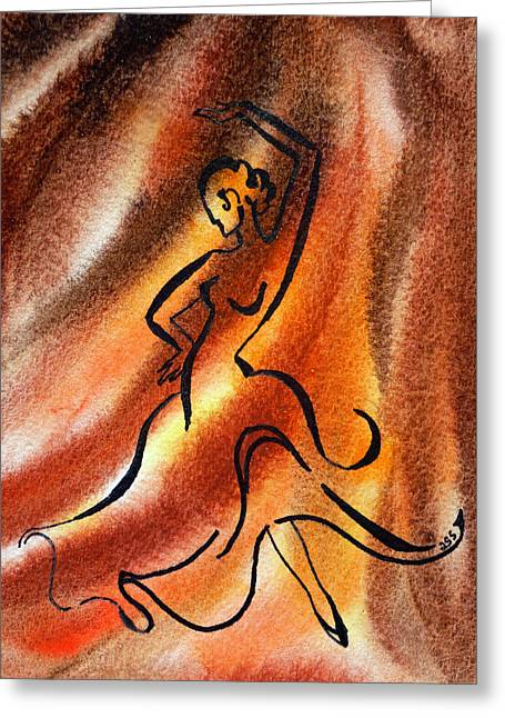 Abstract Expression Greeting Cards - Dancing Fire III Greeting Card by Irina Sztukowski
