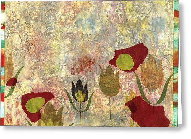 Nature Collage Greeting Cards - Dancing Flowers Greeting Card by Gloria  Von Sperling
