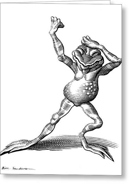 Linocut Greeting Cards - Dancing Frog, Conceptual Artwork Greeting Card by Bill Sanderson