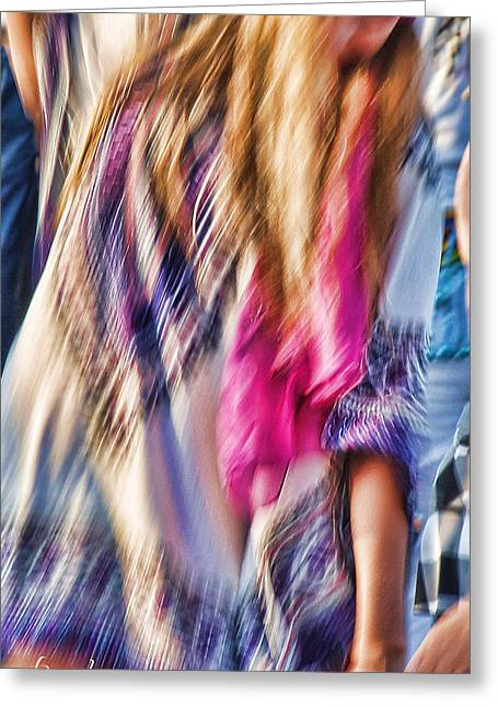 Robin Lewis Greeting Cards - Dancing Hippie Greeting Card by Robin Lewis