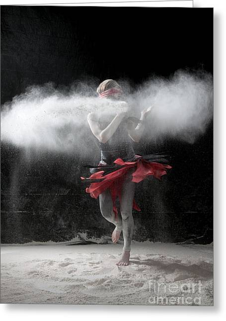 Dancing Greeting Cards - Dancing in Flour Series Greeting Card by Cindy Singleton