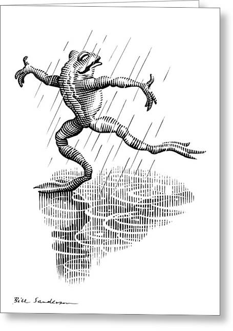 Linocut Greeting Cards - Dancing In The Rain, Conceptual Artwork Greeting Card by Bill Sanderson