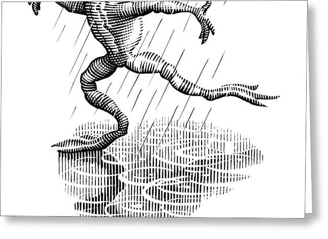 Dancing In The Rain, Conceptual Artwork Greeting Card by Bill Sanderson