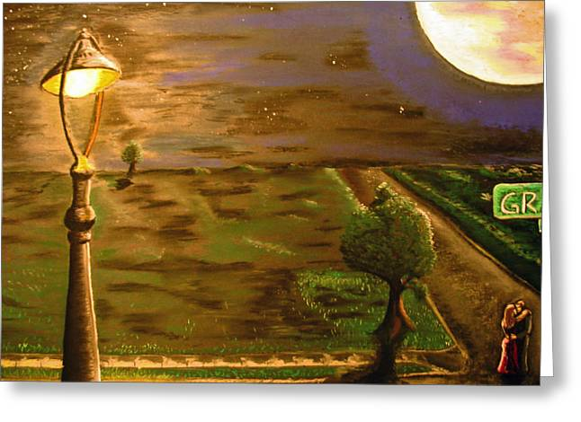 Streetlight Paintings Greeting Cards - Dancing in the Street Greeting Card by Keith Cichlar