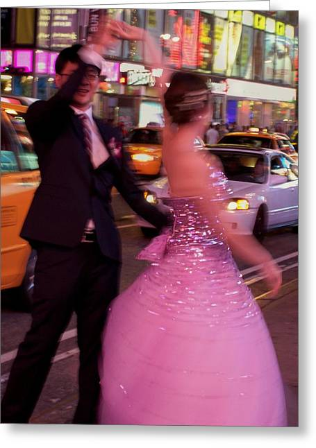Times Square Digital Art Greeting Cards - Dancing in Times Square Greeting Card by Vijay Sharon Govender