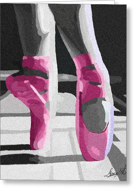 Ballerinas Glass Greeting Cards - Dancing On Pink Satin Greeting Card by Lance  Kelly