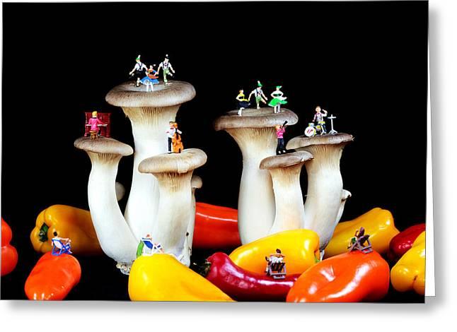 Dancing show on mushroom Greeting Card by Paul Ge