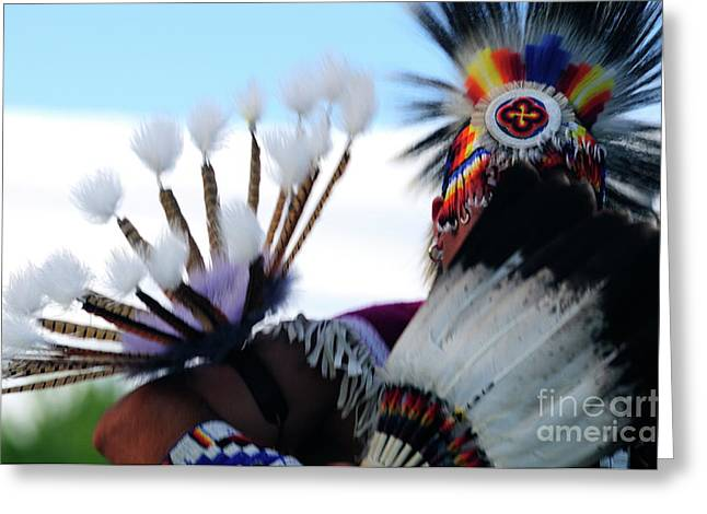 Fancy-dancer Greeting Cards - Dancing With Beaded Feathers Greeting Card by Susana Bonadea