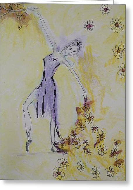 Watching Pastels Greeting Cards - Dancing with flowers Greeting Card by Elisabeth Charbonneau
