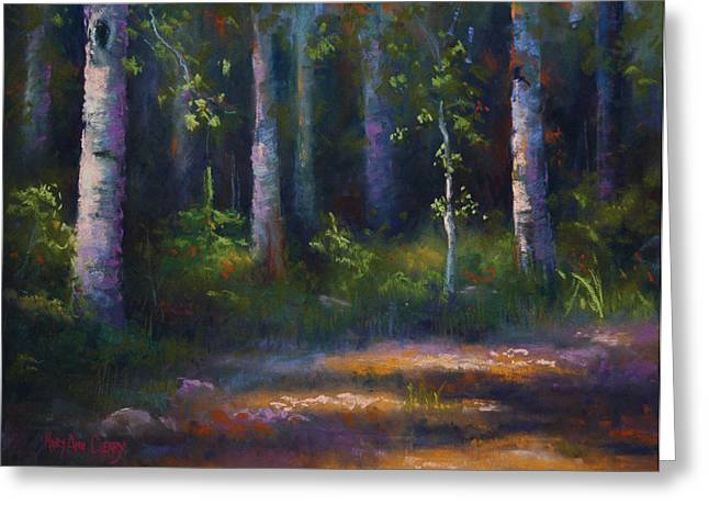 Maryann Greeting Cards - Dancing with the Birch Trees Greeting Card by MaryAnn Cleary