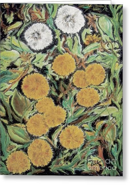 Weed Pastels Greeting Cards - Dandelion Greeting Card by Jim Barber Hove