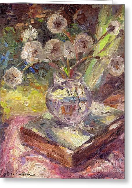 Art Prints Drawings Greeting Cards - Dandelions flowers in a vase sunny still life painting Greeting Card by Svetlana Novikova