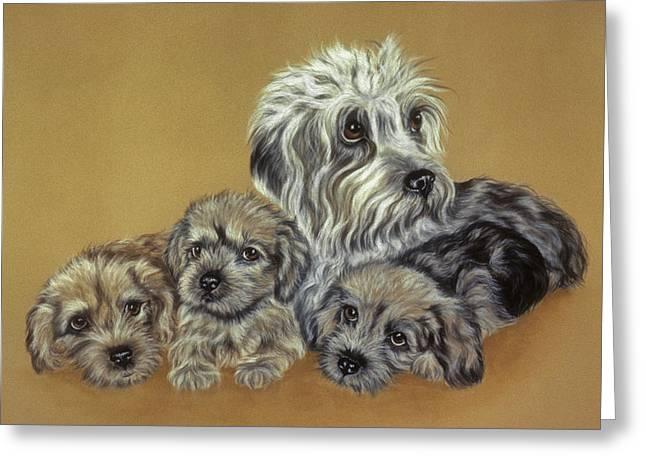 Pair Pastels Greeting Cards - Dandie Dinmont Terriers Greeting Card by Patricia Ivy