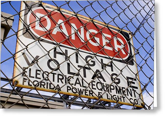 Electrocution Greeting Cards - Danger High Voltage Sign In Cocoa Florida Greeting Card by Mark Williamson