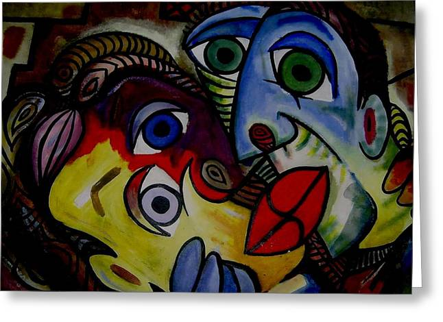 Acylic Paint Greeting Cards - Danger on her lips  Greeting Card by Brent Eric Allison