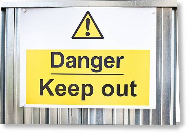 Instructions Greeting Cards - Danger sign Greeting Card by Tom Gowanlock