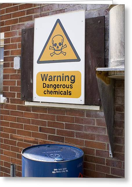 Harwich Greeting Cards - Dangerous Chemicals Warning Sign. Greeting Card by Mark Williamson