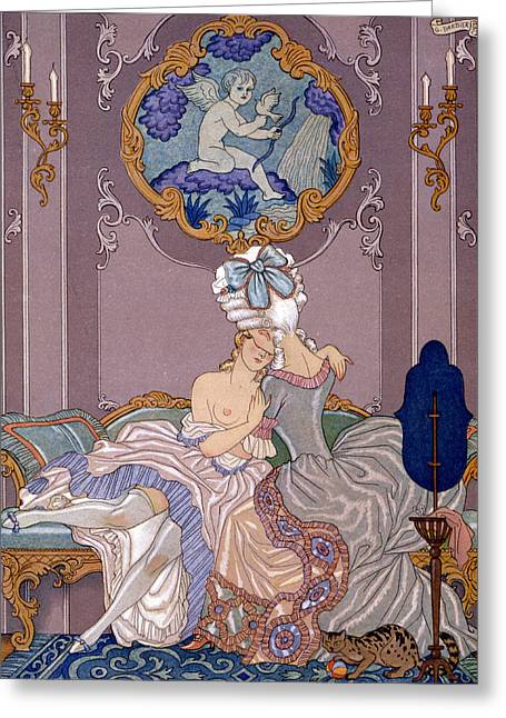 Naughty Greeting Cards - Dangerous Liaisons Greeting Card by Georges Barbier