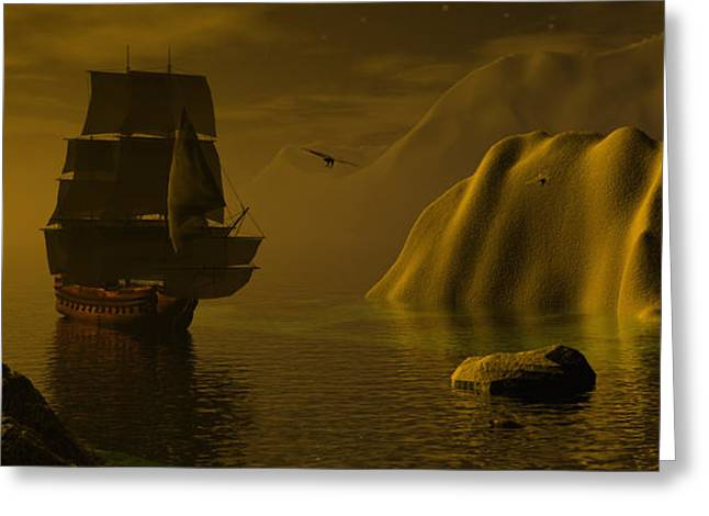 Tall Ships Greeting Cards - Dangerous waters Greeting Card by Claude McCoy