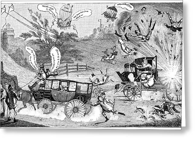 Dangers Of Steam Carriages, 19th Century Greeting Card by
