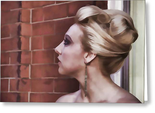 Woman Lady Beauty Classic Portrait Updo Blonde Greeting Cards - Dangling Earring Greeting Card by Alice Gipson