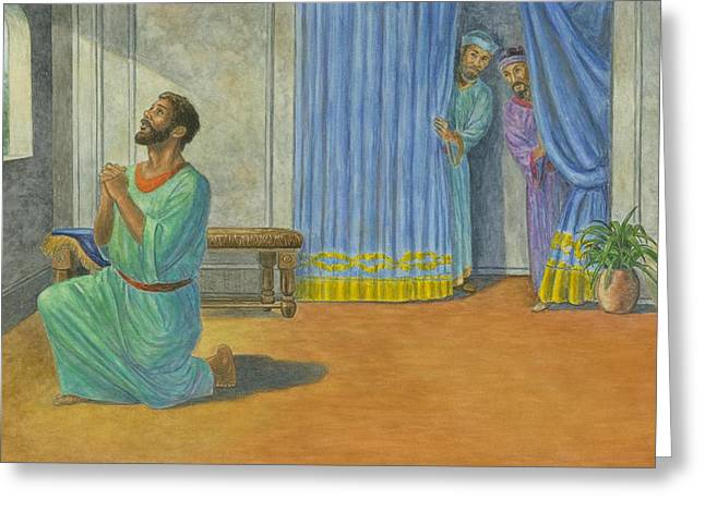 Christianity Pastels Greeting Cards - Daniel Caught Praying Greeting Card by Robert Casilla