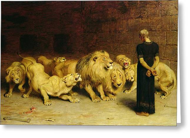 Animals Paintings Greeting Cards - Daniel in the Lions Den Greeting Card by Briton Riviere