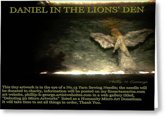 Lions Sculptures Greeting Cards - Daniel In The Lions Den Info Photo No.1 Greeting Card by Phillip H George