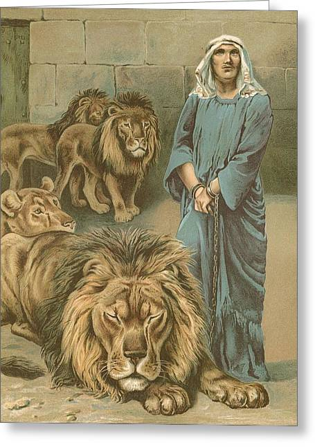 Lesson Greeting Cards - Daniel in the lions den Greeting Card by John Lawson