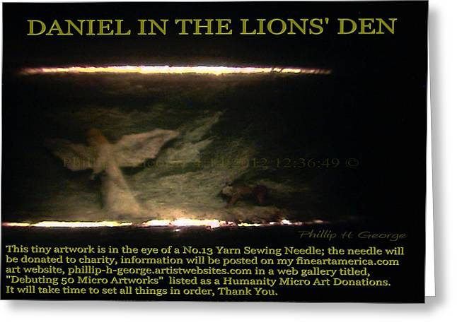 Modern Microscopic Art Sculptures Greeting Cards - Daniel In The Loins Den Info Photo No.2  Greeting Card by Phillip H George