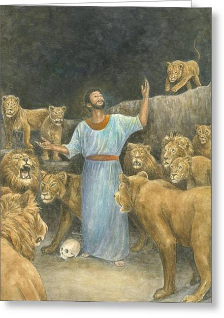 Christianity Pastels Greeting Cards - Daniel Praying in Lions Den Greeting Card by Robert Casilla
