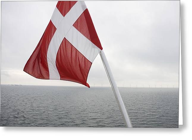 Overcast Day Greeting Cards - Danish Flag, Dannebrog Greeting Card by Keenpress