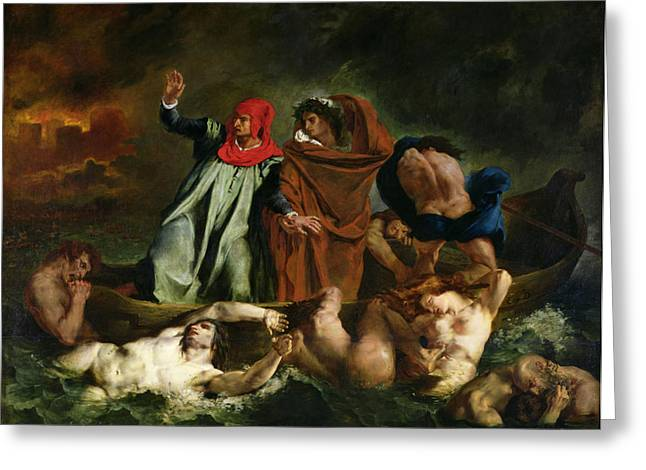 Virgil Greeting Cards - Dante and Virgil in the Underworld Greeting Card by Ferdinand Victor Eugene Delacroix