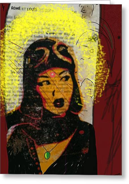 Grafitti Mixed Media Greeting Cards - Danube Grafitti Girl  Greeting Card by Todd Monaghan