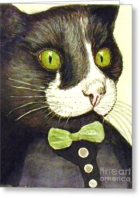 Tuxedo Mixed Media Greeting Cards - Dapper Dude Greeting Card by DJ Laughlin