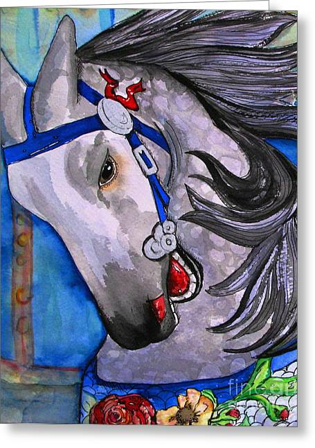 Painted Ponies Greeting Cards - Dapple Grey Greeting Card by Colleen Kammerer