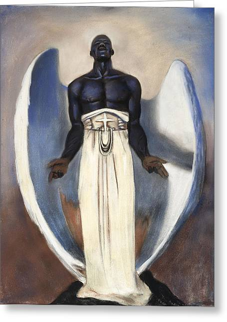 Figure Study Pastels Greeting Cards - Darc Angel Greeting Card by L Cooper