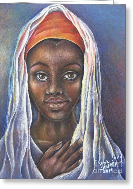 African-american Drawings Greeting Cards - Darfur Greeting Card by Jane Jolly Chappell