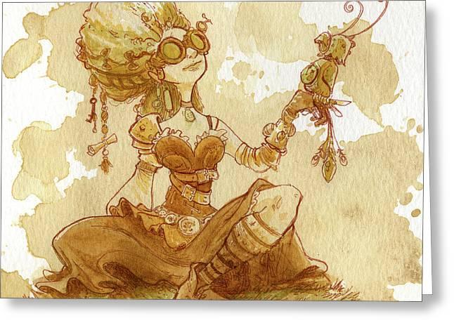 Steampunk Greeting Cards - Darjeeling Greeting Card by Brian Kesinger