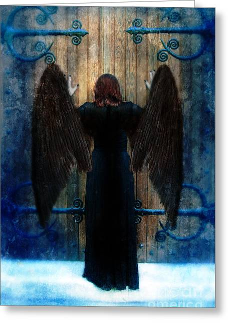 Black Wings Greeting Cards - Dark Angel at Church Doors Greeting Card by Jill Battaglia
