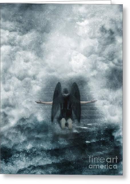 Forgiven Greeting Cards - Dark Angel Kneeling on Stairway in the Clouds Greeting Card by Jill Battaglia