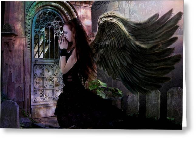 Dark Angels Greeting Cards - Dark Angel Greeting Card by Patricia Ridlon
